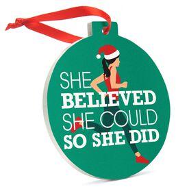 Running Round Ceramic Ornament - She Believed She Could So She Did Santa Runner