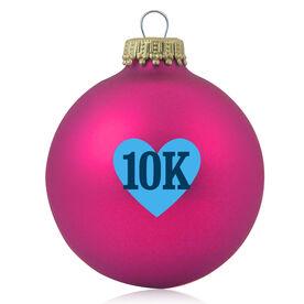 Running Glass Ornament Heart 10K