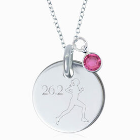 Sterling Silver Custom Race Distance Runner Engraved 20mm Pendant Necklace