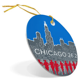 Running Porcelain Ornament Chicago 26.2 Skyline