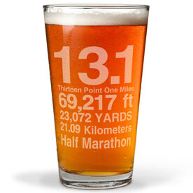 13.1 Math Miles 16 oz Beer Pint Glass