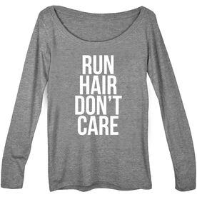 Women's Runner Scoop Neck Long Sleeve Tee - Run Hair Don't Care