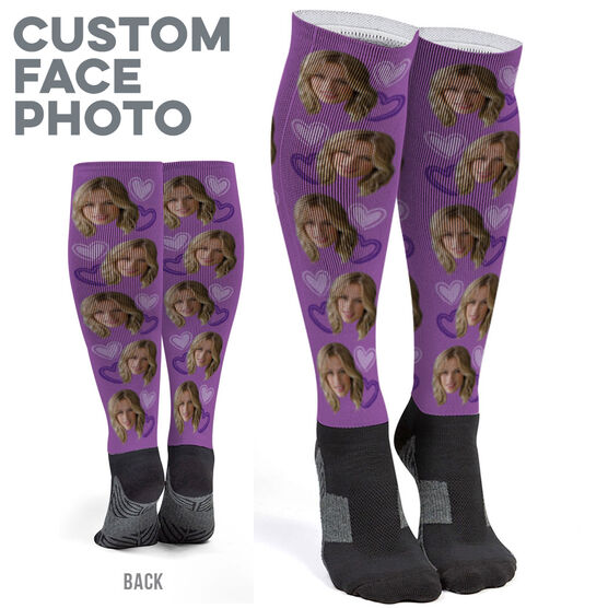 Printed Knee-High Socks - Custom Heart Face Photo