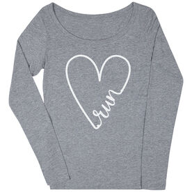 Women's Runner Scoop Neck Long Sleeve Tee - Run With Love