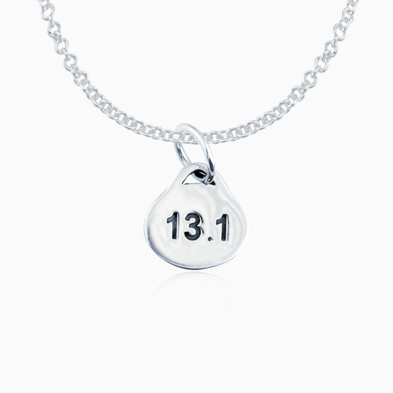 Sterling Silver 13.1 Half Marathon Oval Pendant Necklace