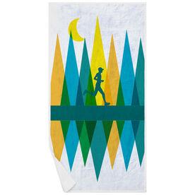 Running Premium Beach Towel - Geometric Mountains Male