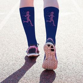 Running Printed Mid-Calf Socks - Heartfelt Run