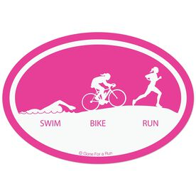Swim Bike Run Decal (Pink)