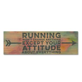 """Running 12.5"""" X 4"""" Printed Bamboo Removable Wall Tile - Running Won't Change Anything Except Your Attitude About Everything"""