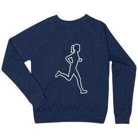 Running Raglan Crew Neck Sweatshirt - Female Runner Outline