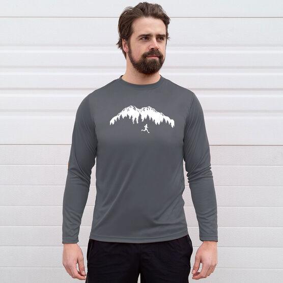 Men's Running Long Sleeve Tech Tee - Trail Runner in the Mountains