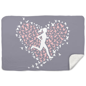 Running Sherpa Fleece Blanket Run With Your Heart