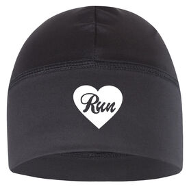 Run Technology Beanie Performance Hat - Heart Run (White Lettering)