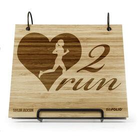 Engraved Bamboo Wood BibFOLIO Heart 2 Run