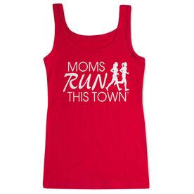 Women's Athletic Tank Top - Moms Run This Town Logo (White)