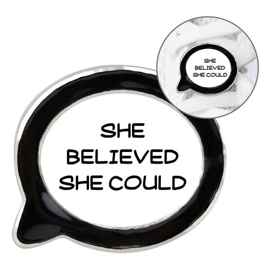 Running Talk Bubble Shoe Charm - She Believed She Could