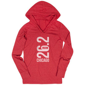 Women's Running Lightweight Performance Hoodie - Chicago 26.2 Vertical
