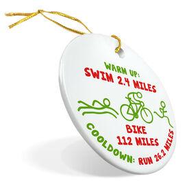 Triathlon Porcelain Ornament Warm Up Bike Cooldown 140.6