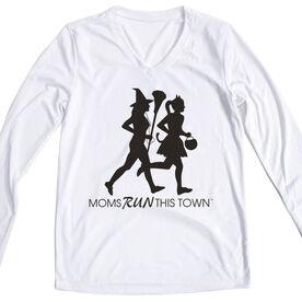 Women's Running Long Sleeve Tech Tee - Moms Run This Town Halloween