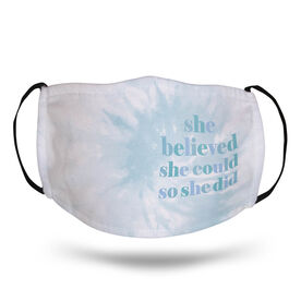Running Face Mask - She Believed She Could Tie-Dye