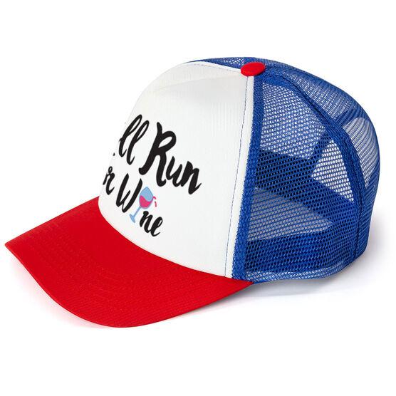 Running Trucker Hat - Will Run For Wine