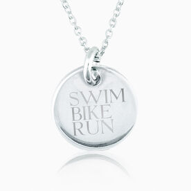 Sterling Silver Swim Bike Run Engraved 20mm Pendant Charm