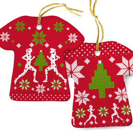 Running Porcelain Ornament Ugly Christmas Sweater  Female