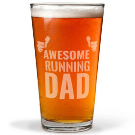 16 oz. Beer Pint Glass Awesome Running Dad