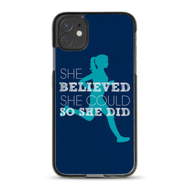 Running iPhone® Case - She Believed She Could So She Did (Silhouette)
