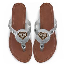 Running Engraved Thong Sandal Filigree Heart