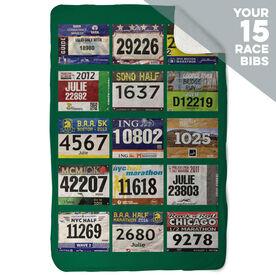 Running Sherpa Fleece Blanket - Your Race Bibs (15 Bibs)