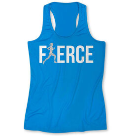 Women's Performance Tank Top Fierce Runner Girl with Silver Glitter