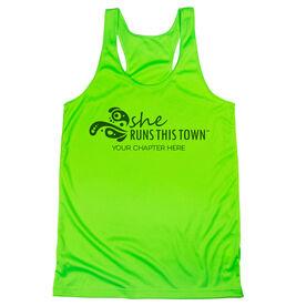 Women's Racerback Performance Tank Top - She Runs This Town Logo