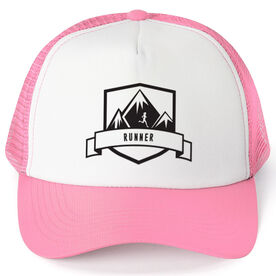 Running Trucker Hat Run Wild Badge With Distances Female Silhouette