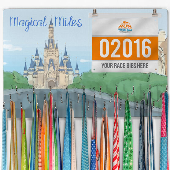 Running Large Hooked on Medals and Bib Hanger - Magical Miles Sketch