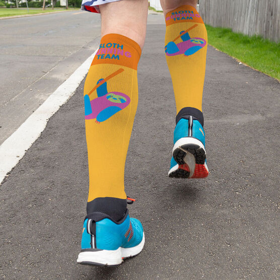 Running Printed Knee-High Socks - Sloth Running Team