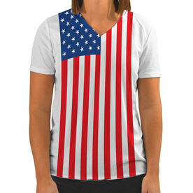 Women's Customized White Short Sleeve Tech Tee American Flag