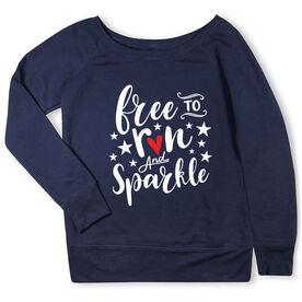 Running Fleece Wide Neck Sweatshirt - Free To Run And Sparkle