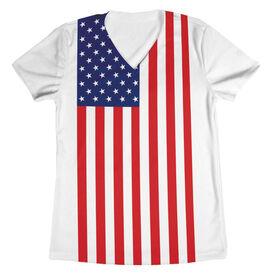 Women's Running Short Sleeve Tech Tee - American Flag