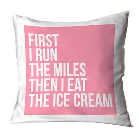 Running Throw Pillow - Then I Eat The Ice Cream