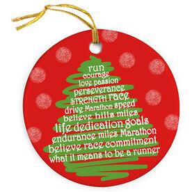 Running Porcelain Ornament Runner Christmas Tree - SS