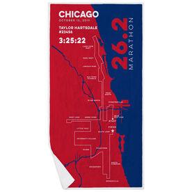 Running Premium Beach Towel - Chicago 26.2 Route