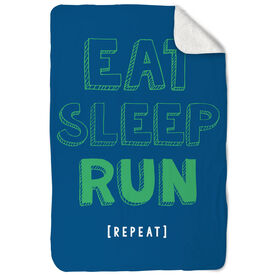 Running Sherpa Fleece Blanket Eat Sleep Run Repeat