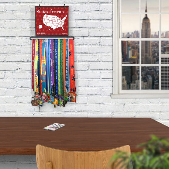 BibFOLIO+™ Race Bib and Medal Display Dry Erase Running The USA Map