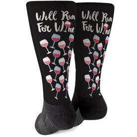 Running Printed Mid-Calf Socks - Will Run For Wine