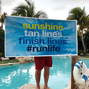 Running Premium Beach Towel - Sunshine Tan Lines Finish Lines Tie-Dye