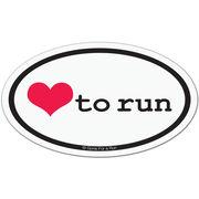 Love To Run Car Magnet - White