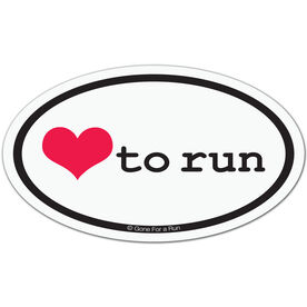 Love To Run Car Magnet - White