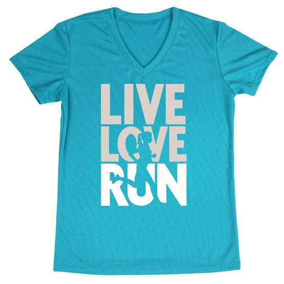 Women's Running Short Sleeve Tech Tee - Live Love Run Silhouette
