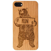 Running Engraved Wood IPhone® Case - Trail Bear